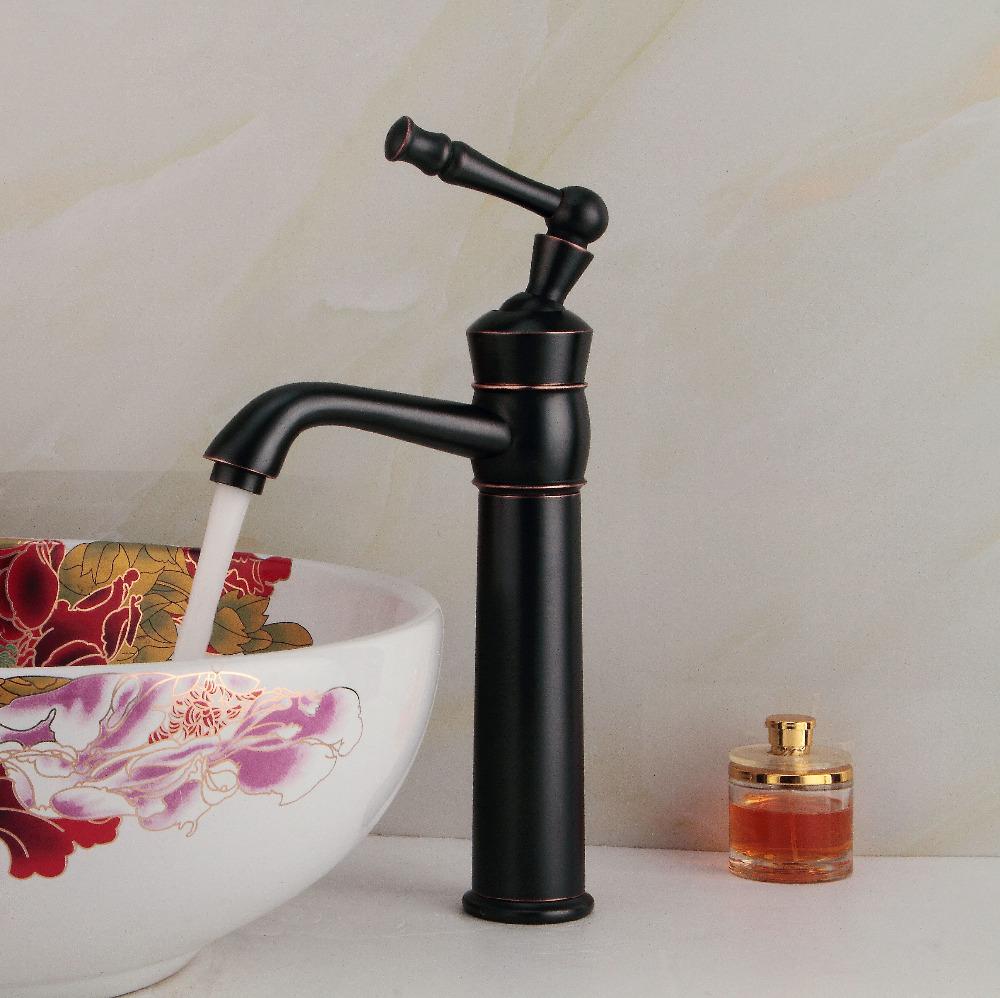 Фотография Oil rubbed bronze faucet bathroom black sink taps single handle tall basin faucets torneira banheiro