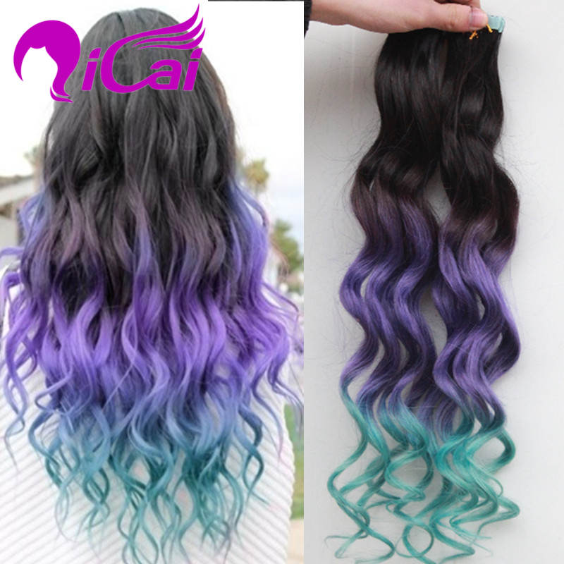 Tape Human Hair Extentions Brazilian Virgin Hair 100g 40pcs Body Wave Ombre Black Purple Green Tape In Human Hair Extension(China (Mainland))