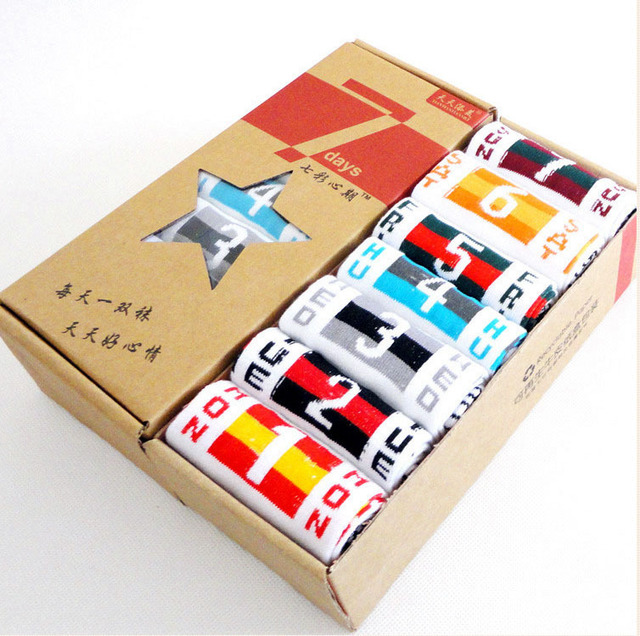 Frees shipping Week seven men's socks men socks socks new flag week creative gift  pure cotton socks