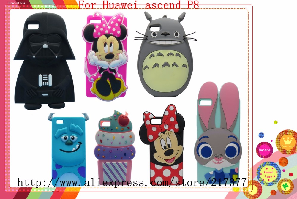 Phone case For Huawei Ascend P8 lite case 3D Hello Kitty Stitch Yellow Man Rabbit Bunny For Huawei P8lite Silicone Case(China (Mainland))