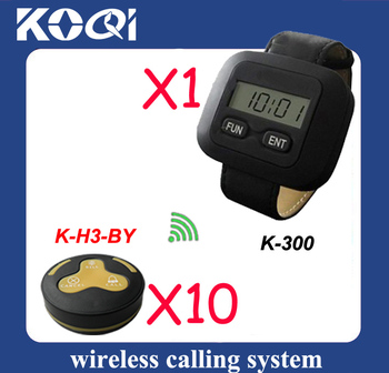 durable in use Wireless waiter call system for service,10 pcs H3-BY bell and 1 pc K-300 receiver