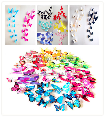Free shipping 12pcs PVC 3d Butterfly wall decor cute Butterflies wall stickers art Decals home Decoration(China (Mainland))