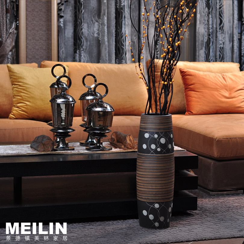 Free shipping Jingdezhen Ceramic Floor vase Living Room Decoration Simple vase(China (Mainland))