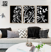 Buy 3 piece black white pinturas al oleo canvas wall art Modern abstract wall tree artwork picture oil painting set living room for $33.92 in AliExpress store