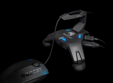 Original Roccat Apuri Active USB Hub With Mouse Bungee Cord Holder Mouse Cord Clip For Wire Mouse Free Shiping(China (Mainland))