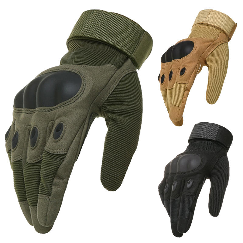 OK Brand Wear Military Tactical Army Full(Half) Finger Airsoft Combat Carbon Hard Knuckle Guard Leather Gloves - Professional Factory Store store