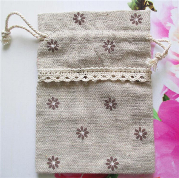 9.5x13cm Jute drawstring bag Flower Style Cotton Linen Favor Holder Chocolate Candy Wedding Packages Christmas Gift bags(China (Mainland))