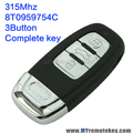 2pieces A4 A6 Q5  smart remote car key 8T0959754C 315Mhz 3button for Audi