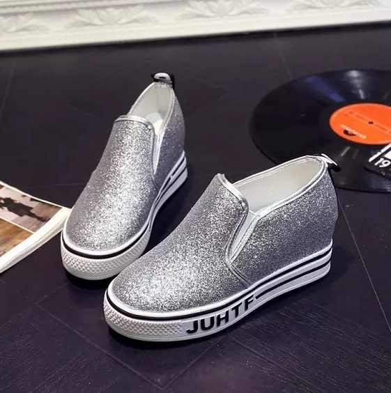 Spring Autumn new heavy-bottomed muffin single shoes for students silver black lazy loafers shoes increased casual shoes<br><br>Aliexpress