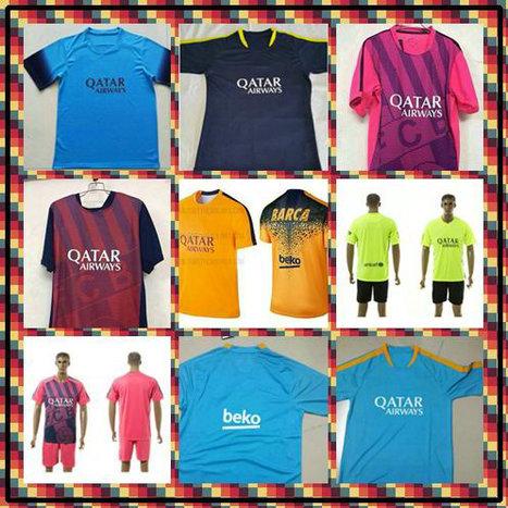 Customize! 2015-2016 Uniforms Kit soccer Football Jersey Suarez Messi Neymar Blue Pink Yellow Green Thai Training Full shirt(China (Mainland))