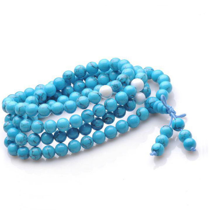 10mm Natural Gem Semi Precious Stones Turquoise Charm Mala Beads Blue Rosary Bracelets For Women Bracelets Turchese Corda Marble(China (Mainland))