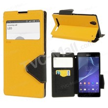 Freeshipping 1PCSLot For Sony Xperia T2 Extremely D5303 twin D5322 XM50h Roar Korea Fancy Diary View Window Flip Leather-based Case