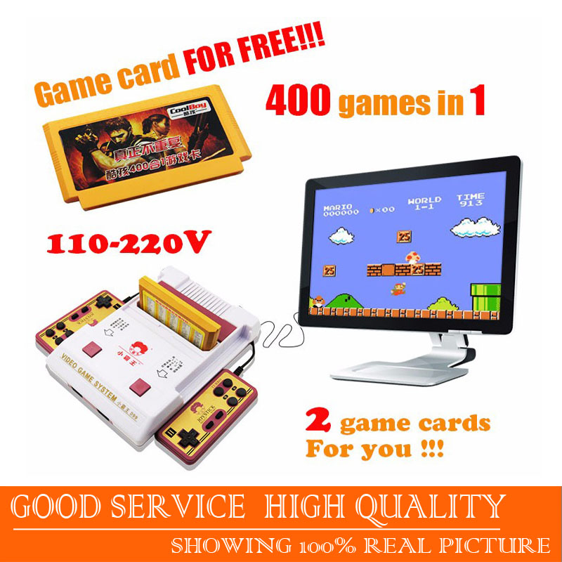 Free shipping new 2016 video game consoles player + 400 games play card + original card two card and TV game player for children(China (Mainland))