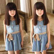 Children Summer Cloth Girls Jeans Style Denim Dress Sleeveless Babys Clothing Fashion Vestidos Princess Dresses D04X46