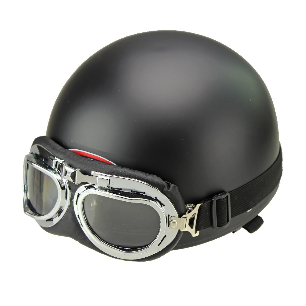 New Leather Open Half Vintage Style Cycling Open Face Motorcycle Black Helmets & Goggles for Adults(China (Mainland))