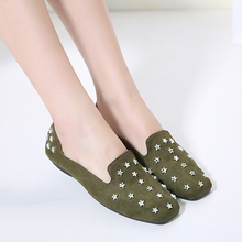 Buy Superstar shoes 2017 Spring new fashion rivets Star ballet flats ladies shoes casual Square head slip shoes flat shoes women for $22.04 in AliExpress store