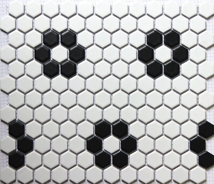 Sicis Black White Hexagonal Ceramic Mosaic Tile Kitchen Backsplash Swimming P