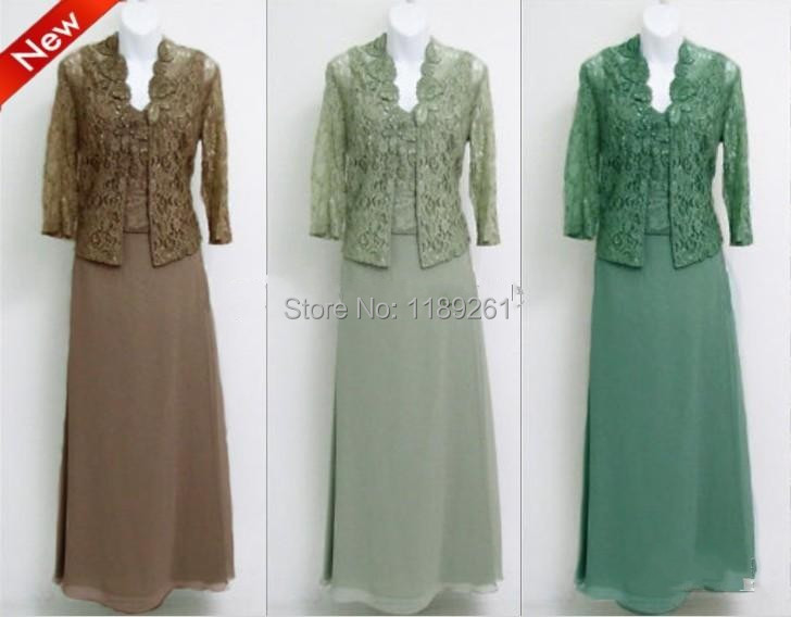 Custom Made Chiffon V-neck Empire Mother Of Bride Dresses With Lace Long Sleeve Jacket DE09069