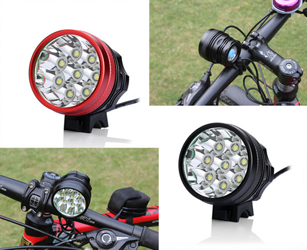 Free Shipping 8x CREE XM-L T6 LED 9000 Lumen Cycling Bike Bicycle Front Light Lamp Rechargeable HeadLamp HeadLight(China (Mainland))