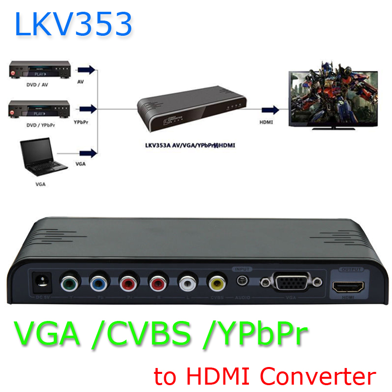 New VGA/ YPbPr Component/Composite RCA CVBS+Audio to 1080P HDMI Converter Scaler Brand Lenkeng LKV353(China (Mainland))