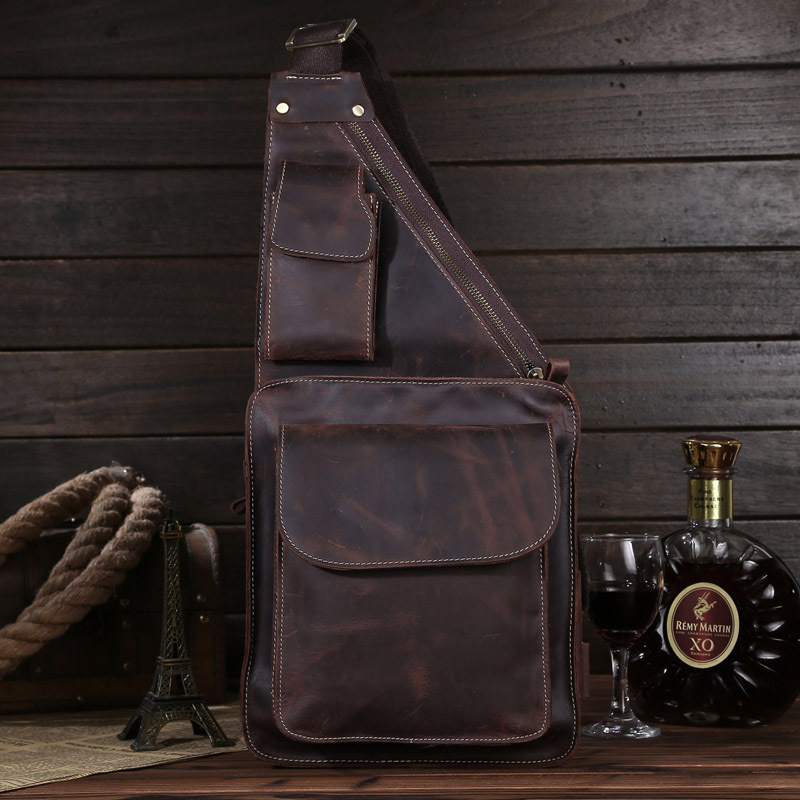 New Arrival West Cowboy Genuine Oil Leather Chest Packs Man Sport Chest iPad Bag,free shipping,new,8051 large size capacity,(China (Mainland))