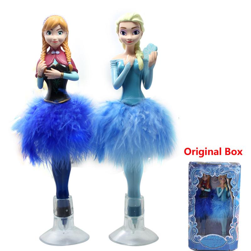 2 pcs/set Bonecas Princesa Anna e Elsa Doll Set Feather Ball Point Pen Gifts For Girls Brinquedo de Menina Juguetes Para Ninas(China (Mainland))