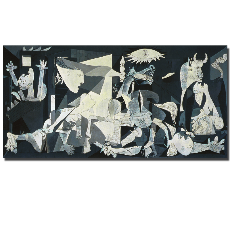 Spain France Picasso Guernica 1937 Germany Figure Canvas Painting Abstract drawing Spray Oil Painting Frameless Home decor(China (Mainland))