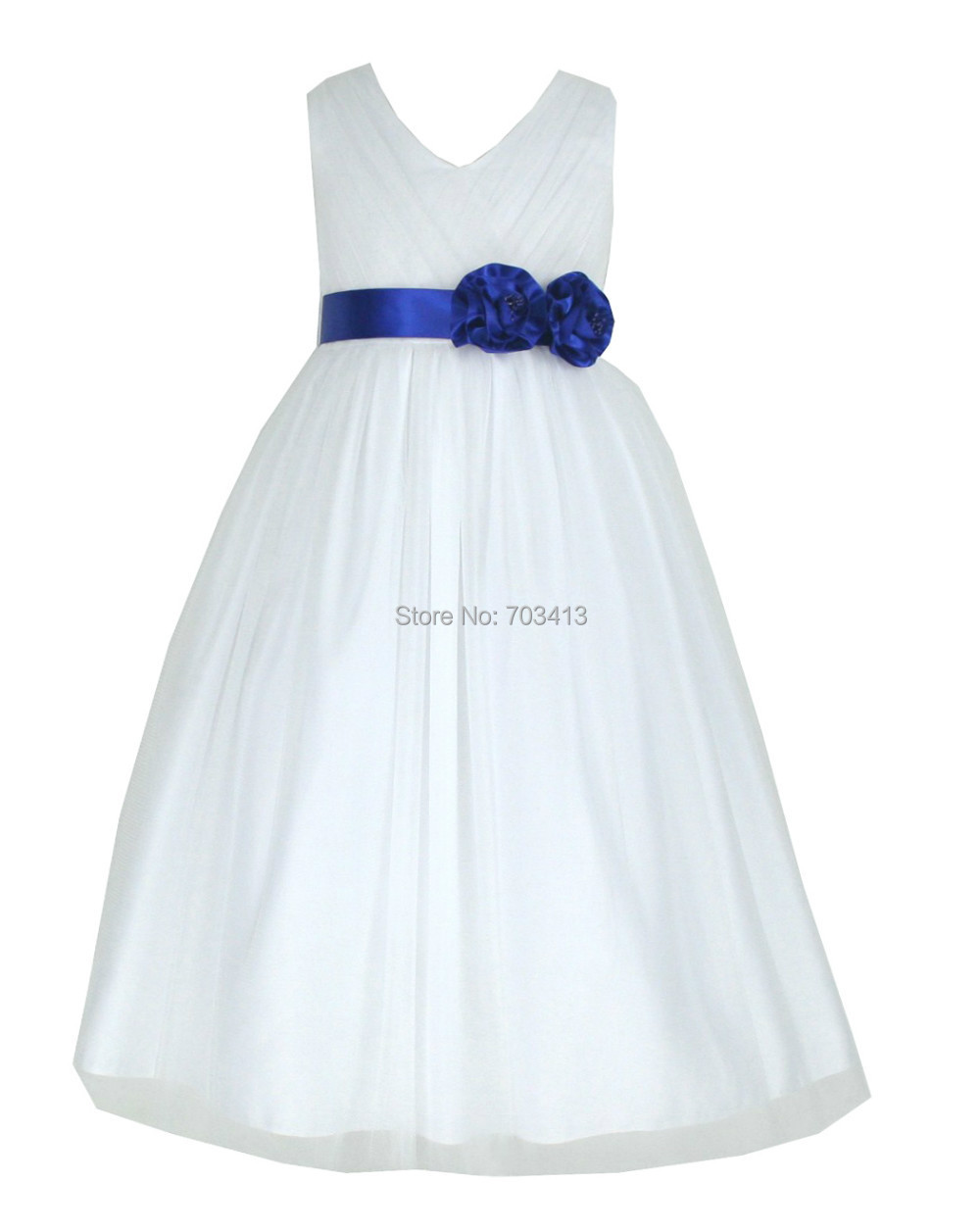 W202RB free shipping white satin & tulle sash pageant flower girl dress 2 4 6 8 10 12 years(China (Mainland))