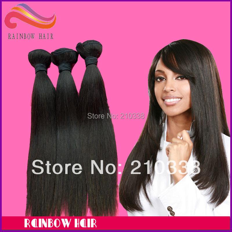 "Retail sample hair Bra-zilian natural straight 12"" ~34"" long length vir-gin hu-man hair extension mix any length you like(China (Mainland))"