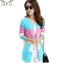 Free shipping 2016 fall and winter cardigan sweater Knitted Cotton Patchwork O-Neck Pink/Blue/red Fashion Leisure cardigan women(China (Mainland))