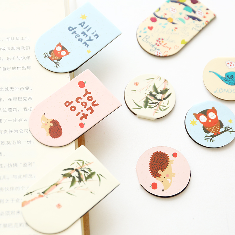 Two year class three South Korean stationery lovely cartoon color magnetic bookmark metal gift mini book clip(China (Mainland))
