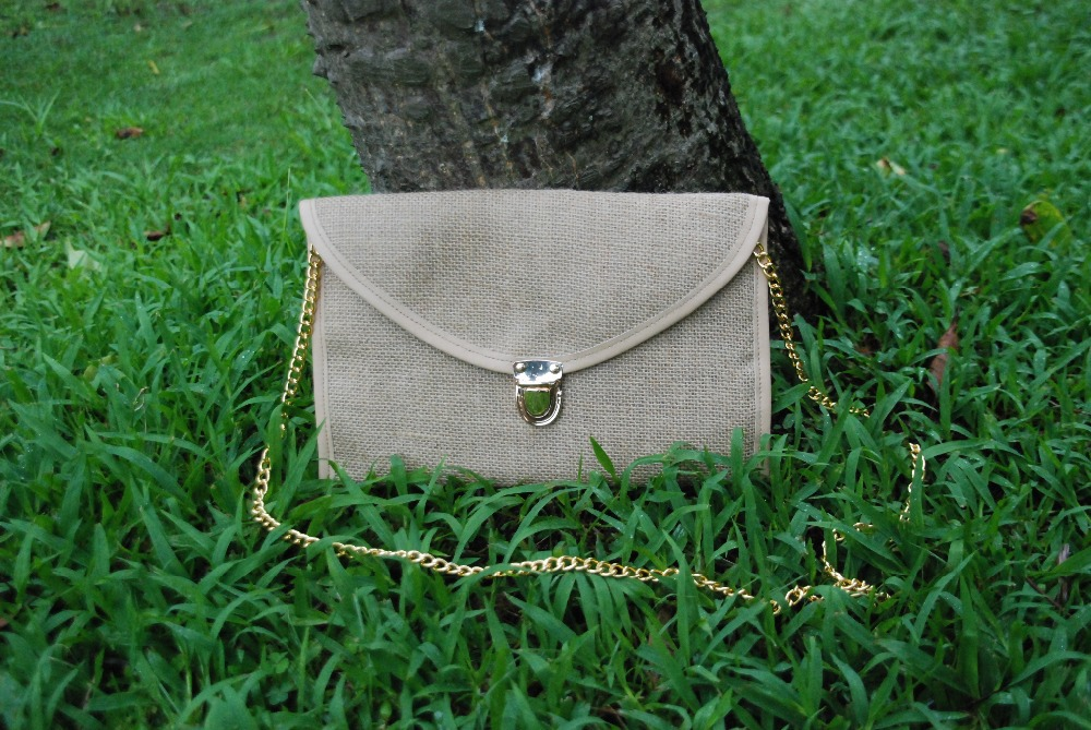 Wholesale Women Shoulder Crossbody Burlap Clutch , Monogramable Jute Clutch with Chain DOMIL-101045(China (Mainland))