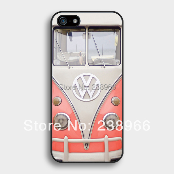 Free Shipping - VW Mini Bus Vintage Volkswagen Bus Coral Hard Back Cover Case For Apple iPhone 4 4S 5 5S 5C 6 6 Plus - A133(China (Mainland))