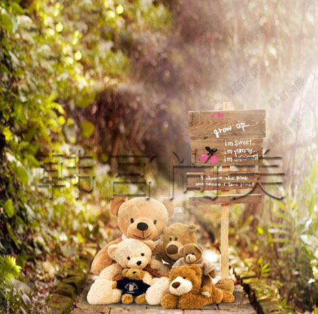5X7ft Art fabric teddy bear photography background children's photo backdrop S-469(China (Mainland))