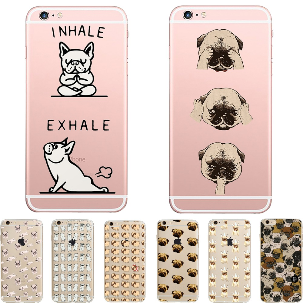 phone case adorable pug transparent soft silicon TPU funda coque case cover Apple iPhone 6 6plus 5S SE 7 7plus