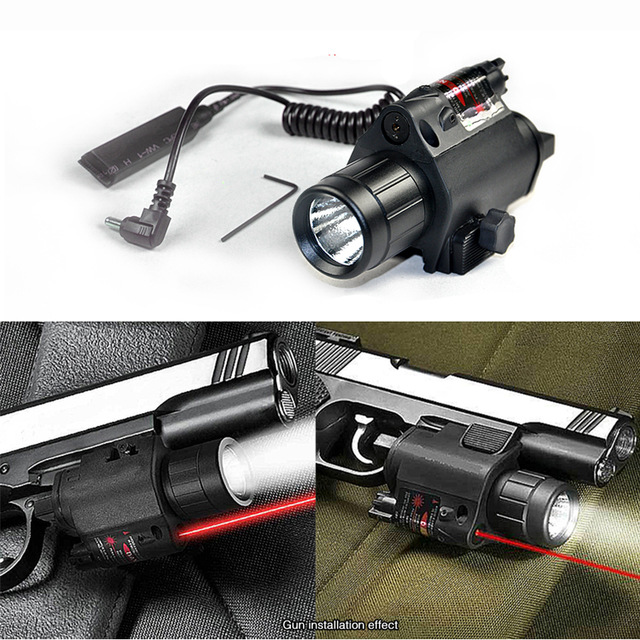 Free 2in1 Tactical CREE LED Flashlight/LIGHT +Red Laser/Sight Combo for Shotgun Glock 17 19 22 20 23 31 37(China (Mainland))