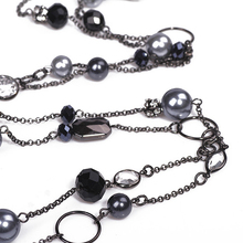 2016 Fashion imitation pearl Black Long Jewelry Wholesale Chokers Beads Acrylic Trendy Office career Gifts For