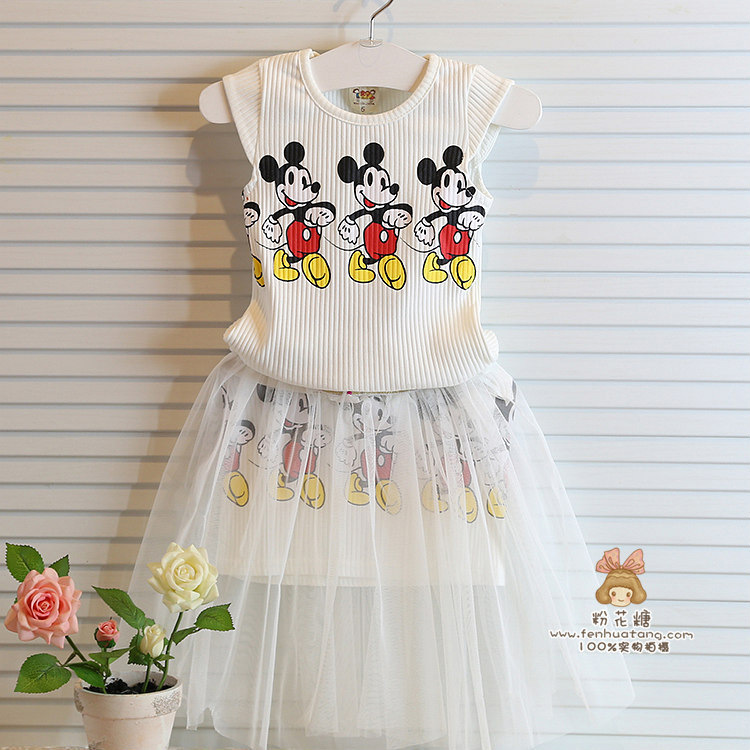 Cartoon Childrens Baby Girls Clothes kids Outfits Clothing Sets Suits T Shirts + Tutu Skirts Outfits & Sets Summer Mouse ZZ-353(China (Mainland))