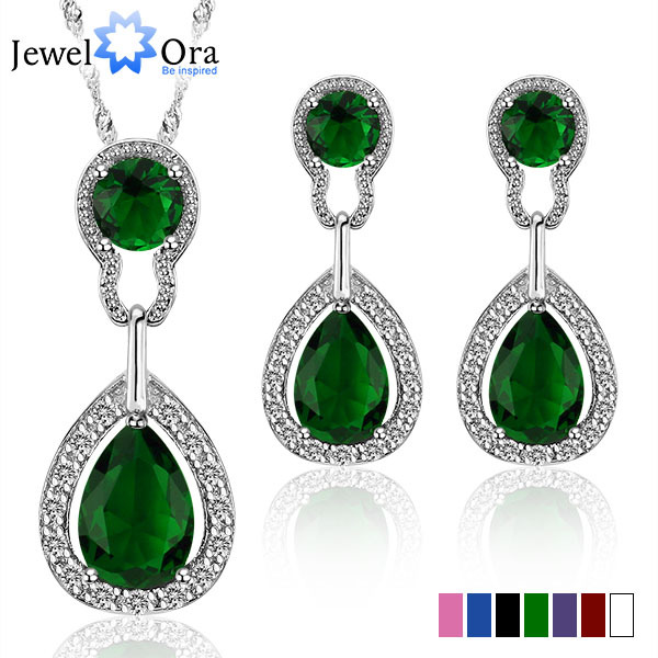 Accessories Multicolor Wedding Jewelry Sets for Women Bridal Silver Gold Plated Crystal Vintage Jewelry Set (JewelOra JS100364)(China (Mainland))