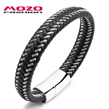 Buy MOZO FASHION Men Bracelet Steel Wire & Leather Braided Rope Bracelet Stainless Steel Magnetic Clasp Bracelet Male Jewelry PS2008 for $6.22 in AliExpress store