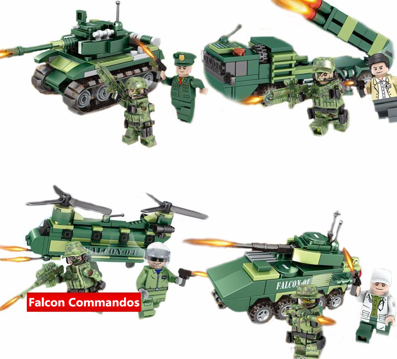 Compatible Legoes Tank Helicopter Military Minifigures Falcon Commandos Army soldiers Weapon Guns Building Blocks WW2 - COASTLINE TOY store