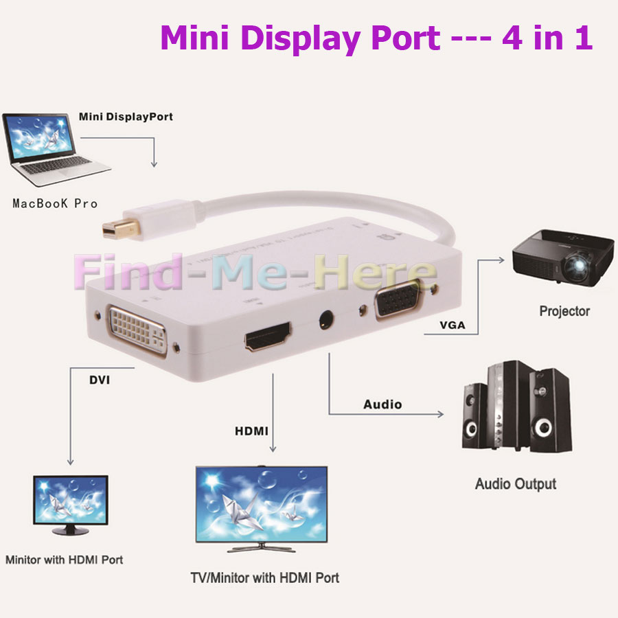 4 in 1 Mini DP Displayport Thunderbolt + Micro USB Power Port to DVI/HDMI/VGA/Audio Output Female Convertor Adapter Cable 3 in 1(China (Mainland))