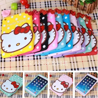 New arrival Cute 3D Cartoon Hello Kitty Soft Silicone Case Cover For Apple iPad 2 3 4 5/air 1 2/mini 1 2 3 Back Protective Cases(China (Mainland))