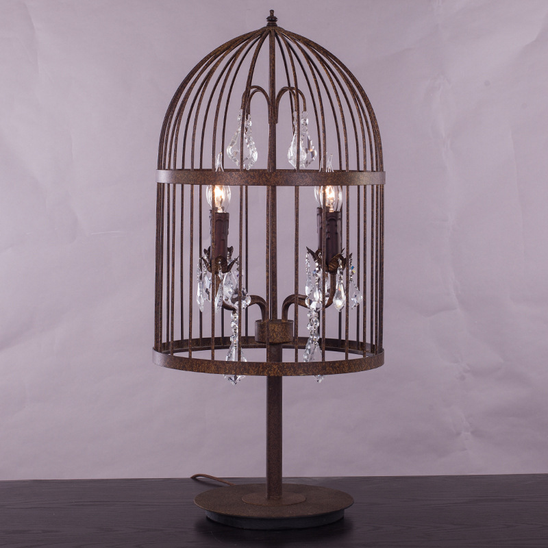 retro antique rust wrought iron cage crystal table lamps. Black Bedroom Furniture Sets. Home Design Ideas