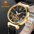 OUYAWEI Brand Luxury Business Turbillon Watch Men Automatic Mechanical Wristwatches for Waterproof Genuine Leather Reloj Mujer