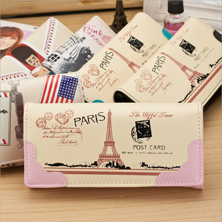 Hot pu carton Eiffel Tower women wallets 2014 luxury brand design high quality hasp ladies cluth purse money credit card holder(China (Mainland))