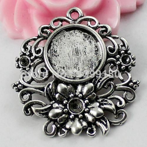20pcs/lot Antique silver Cameo/Glass/Cabochon Frame bezel Settings, DIY-Accessory Pendant Charm,31x30mm(fit 12.5mm) K01838<br><br>Aliexpress