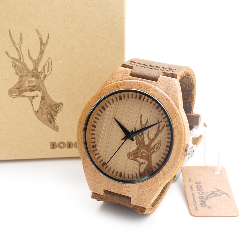 2015 Top brand Bobobird Men's Bamboo Wooden Bamboo Watch Quartz Real Leather Strap Men Watches With Gift Box(China (Mainland))