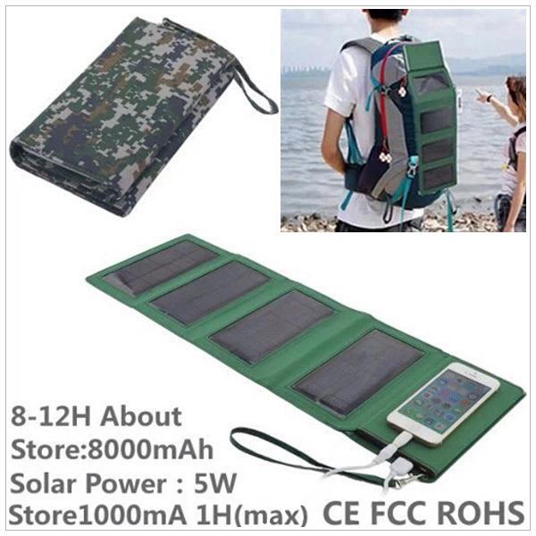 KP-8000 Portable 8000mAh Folding Solar Storage Power Bank / DC5V-1A - Camouflage(China (Mainland))