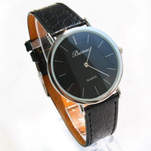 Free Shipping 2014 Fashion Quality Ultra thin Strap Watch Men Quartz Wristwatch Leather Band Watches